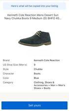 Kenneth Cole Reaction Mens Desert Sun Navy Chukka Boots 9 Medium (D) BHFO 4589