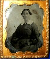 1/9th Size Tintype of Younger Lady in Brass mat/frame