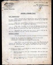 """Concessionnaire AUTOMOBILE CITROEN CAMION T.23 """"NOTE TECHNIQUE N°464"""" en 1947"""