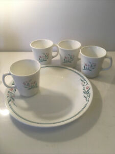 5 pc Lot CORELLE Rosemarie Pink Tulips ~ 1 Dinner Plate And 4 Coffee Mugs/Cups