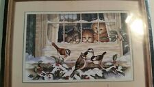 Dimensions Counted Cross Stitch Three Bird Watchers #3839 Birds and Cats  1997