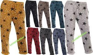 Italian Ladies Women Elastic Waist Cotton Star Trouser Jogger Pants Plus Size XL