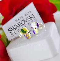 STUD EARRINGS CRYSTALS FROM SWAROVSKI® SKULL CRYSTAL AB 10MM STERLING SILVER 925