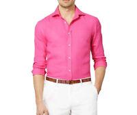 Ralph Lauren Purple Label Italy Linen Button Down Aston Pink Dress Sport Shirt
