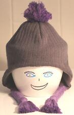 Neu Billabong Mütze Ohrenschutz Mädchen Kinder Bommel grau Polyacryl