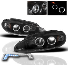1998-2004 DODGE INTREPID BLACK HALO PROJECTOR HEADLIGHTS SET W/BLUE LED DRL PAIR
