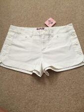 $130 JUICY COUTURE White Cotton Sailor Side Button Shorts Size 8 NWT