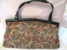 VTG MID CENTURY TAPESTRY FLORAL HANDBAG/PURSE WITH STRAPS