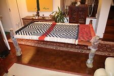 More details for rare 100% handmade original indian wooden charpai / charpoy / khatyo / stringbed