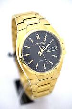 WITTNAUER MEN Watch WN3059 Goldtone Bracelet Black Dial Retail $475