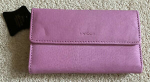Unique Pink Leather Bi Fold Purse New With Tags