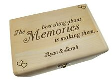 Personalised Solid Pine Wooden Keepsake Memory Box - Love Hearts Memories Box
