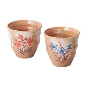 Kyoto Kiyomizu-yaki Earthenware Blue & Red Flower Pair Yunomi Tea Cup Made Japan