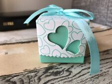 50x Mint Love Heart Wedding Favour Boxes Chocolate Candy Sweets Cookie Gift Box