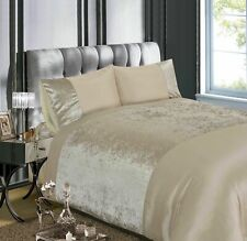 Rapport Luxury Crushed Velvet Silver Grey or Champagne Duvet Cover Bedding Set