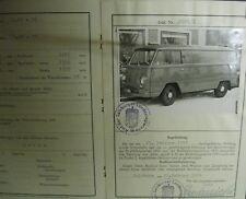 * Tempo Wiking Rapid Kastenwagen 1958 Österreichischer Typenschein SAMMLER *