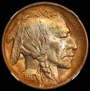 1913-D Type 1 U.S. Buffalo Nickel 5 Cents Coin - NGC MS 67+ Bullseye Toning