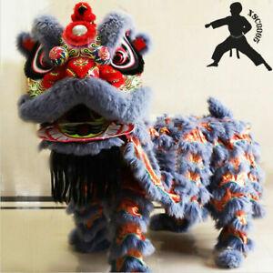 Chinese Kung Fu Foshan Lion Dance Mascot Costume Two Adult(Grey)