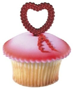 New Valentine's Day Red Heart Cupcake Picks One Dozen Jewel Design