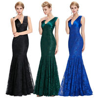 Fishtail Lace Long Ball Gown Prom Party Evening Formal Celeb Maxi Wedding Dress
