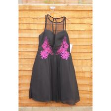 Little Mistress Black And Berry Embroidered Mini Dress (RRP £62) BNWT (SIZE 6)