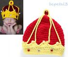 Newborn Baby Crochet Knit Christmas King Crown Costume Hat Photography Prop