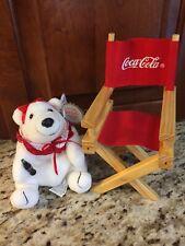 Coca cola Collectors Society Plush Polar Bear With Director Chair 1998
