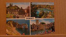 Postcard Unposted Dorset, 4 views Corfe castle, Durdle door, Bluepool, Mill pond