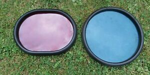 GENUINE VINTAGE RAILWAY PERSPEX SEMAPHORE SIGNAL LENSES WITH RUBBER FRAME