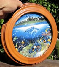 """Danbury Mint Plate Underwater Paradise """"A Discovery Off Anahola"""" in Oak Frame Le"""