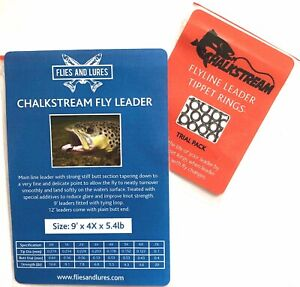 """""""Chalkstream  Fly line """"9,12' or 15'  leader tapered with TIPPIT RING TRIAL PACK"""