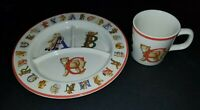 VINTAGE 1994 ALPHABET BEARS BY TIFFANY & CO. BABY CHILD DIVIDED DISH PLATE CUP