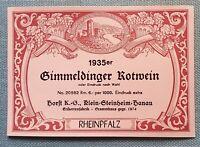 altes Weinetikett Musteretikett Etikett Label Gimmeldinger Rotwein Rheinpfalz