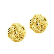 10K Love Knot  Rope LoveKnot Stud Earrings 8mm Push Back