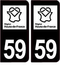 2 stickers style plaque immatriculation AUTO FULL BLACK HAUT DE FRANCE 59