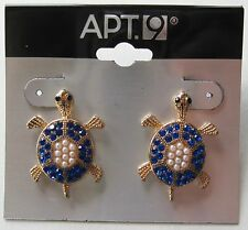 Apt 9 Gold Tone Turtle Pierced Earrings Faux Blue Crystals White Pearls FREE S&H