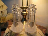 Pair LENOX Full Crystal Glass Salt & Pepper Pots Lighthouse Design with Labels