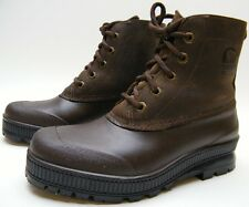 WOMENS SOREL INSULATED BRN RUBBER LEATHER ANKLE SNOW RAIN WINTER MUD BOOTS SZ 6