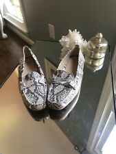 Womens GEOX Respira Snake Print Leather Loafers Sz. 37 Driving Logo