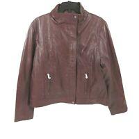 Chelsea28 Leather Jacket Size 2XL XXL MSRP $299 Moto Biker Brown Women's