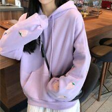 Kawaii ropa sudadera con capucha Harajuku Japonés Pastel Fresa Bordado