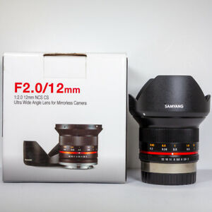 Samyang 12mm f/2 Wide Angle Manual Focus CS NCS Lens Micro 4/3