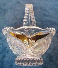 PRETTY VINTAGE ANNA HUTTE BLEIKRISTALL CRYSTAL  BASKET WITH GOLD GILT TRIM