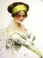 Harrison Fisher GIRL as DEBUTANTE in LONG WHITE GLOVES 1912 Antique Art Matted
