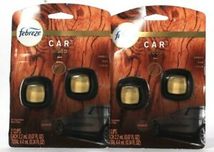 2 Packs Febreze Car 0.14 Oz Wood Amber OUD Cedar 2 Ct Air Freshener Vent Clips