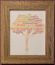 Personalised Family Tree Print Bespoke Gift Wall Word Art A4 Size