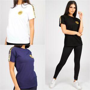 Womens Top Crew Neck T-shirt Designer Short Sleeve Cotton Tee Sport DON RRP £55