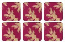 Ensemble de 6 déchu Feuilles rose foncé liège soutenu SOUS-VERRE 10.5 x 10.5cm