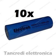 10X Batteria pila litio li-ion lir icr 18650 3.7v 2600mAh pin piatto flat top