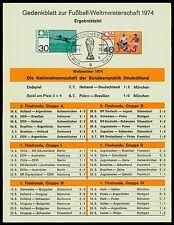 BRD 1974 FUßBALL-WM GEDENKBLATT ERGEBNISTAFEL FOOTBALL SOCCER FUTBOL z2150